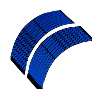 16 Strips Wheel Sticker Reflective Rim Stripe Tape Bike Motorcycle Car 16 17 18inch Blue - 3