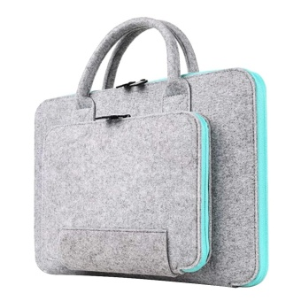 16.54 x 11.81inches Storage Bag Wool Felt Handbag Shock-absorption Carrying Case for 15.4inch Macbook Pro and Retina Universal Laptop Size within 15.6inch Light-gray and Sky-blue - intl