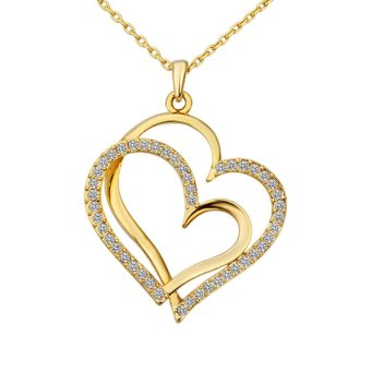 18K Gold Love Heart Shape Pendant Necklace for Women