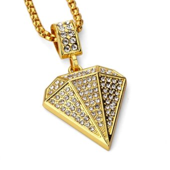 18k thick gold plated diamonds small pendant hip hop necklaceHIPHOP jewelry - intl