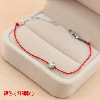 18kHan version female animal year titanium steel bracelet red string bracelet