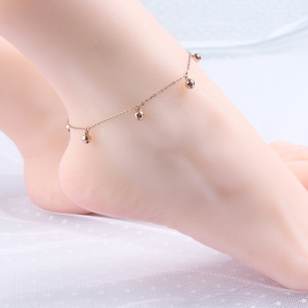 18kHan version of titanium steel plated rose gold anklets