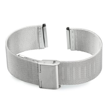 18mm Stainless Steel Mesh Bracelet Watch Band Replacement Strap for Men Women (Silver) - 3