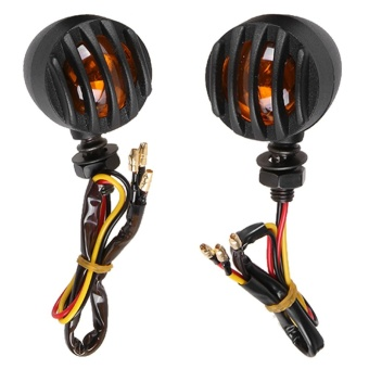 1Pair Motorcycle Black Grill Turn Signal Brake Stop Running Tail Lights - intl