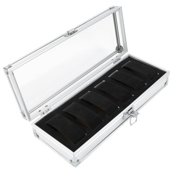 1Pc 6 Grid Slots Aluminum Rectangle Watch Jewellery Display StorageOrganizer Box (6 Slots) - intl