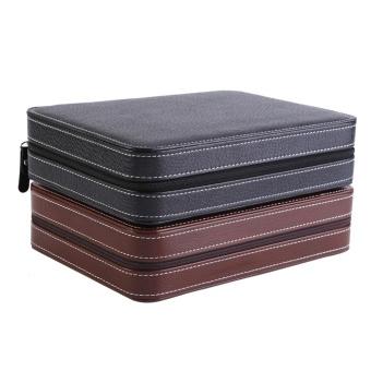 1Pc 8 Grids Watch Display Storage Box Zippered Travel Collector Case Organizer (Coffee) - intl - 3