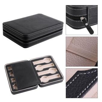 1Pc 8 Grids Watch Display Storage Box Zippered Travel Collector Case Organizer (Coffee) - intl - 4