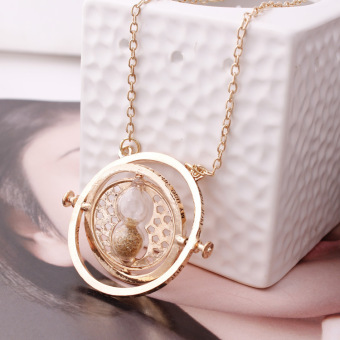 1pc Gold Hourglass Time Turner Necklace Hermione Granger RotatingSpins (Size: 30 g) -Gold - intl
