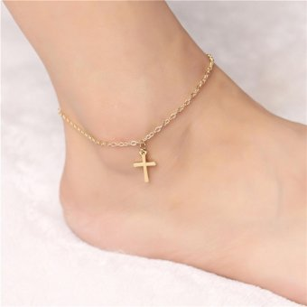1Pc Gold Plated Cross Pendant Ankle Anklet Chain Barefoot SandalsWomen Beach Foot Jewelry(golden) - intl