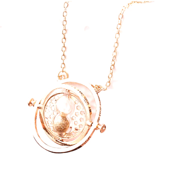 1pc Hourglass harry potter Time Turner Necklace Hermione GrangerRotating Spins chain choker (Intl)