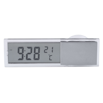 2 in 1 Digital LCD Clock Thermometer Suction Cup for Car Interior Accessories