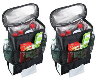 2 Pack Car Back Seat Organizer/Auto Seat /Multi-Pocket TravelStorage Bag/Insulated Car Seat Back Drinks Holder Cooler /StorageBag Cool Wrap Bottle Bag/Mesh Pockets(Heat-Preservation) Black -intl