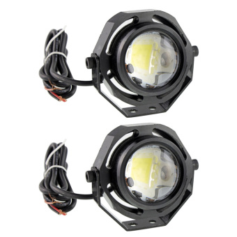 2 Pcs 10W Universal Vehicles Ultra-bright Eagle Eye LED COB DRL Light Car Lamp Daytime Running Fog Light Backup Lamp for Motorcycle Truck Warm White Light