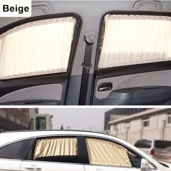 2 x 50s Car Sun Shade Window Curtain Beige - intl