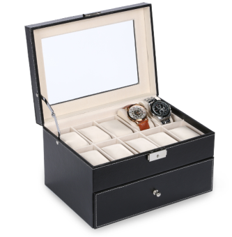 20 Grid Slots Jewelry organizer Watches Boxes Display Storage Box Case Leather Square jewelry