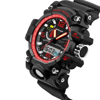2016 High Quality SANDA 732 Multifunctional Outdoor SportsWaterproof Shockproof Electronic Watch(red)