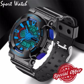 2016 New Watch Men G Style Waterproof Sports Military Watches S Shock Fashion LED Digital Watch Men(black and blue)