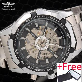 2016 Winner brand Luxury Sport men's Automatic Skeleton Mechanical Military fashion casual Watch Men Silver full Steel Band