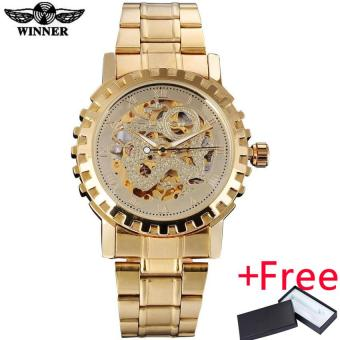 2016 WINNER famous brand men mechanical automatic gold watches male skeleton steel fashion wrist watches dragon dial gear case