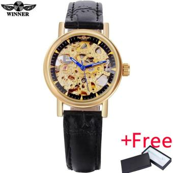 2016 WINNER watches women lady luxury brand skeleton automatic mechanical wristwatches artificial leather band relogio feminino