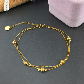 2017 24k gold plated Charm Bracelet women jewelry wholesale brass plated 24K gold with bell Ladies bracelet anklet - intl