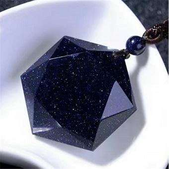 2017 Fashion Universe Spiritual Energy Hexagram Blue SandstonePendant Necklace Grounding Stone Protection Amulet - intl - 3