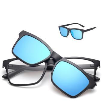 2017 Multi-function Sunglasses Magnetic Polarized Clip Myopia Sunglasses for Male Women Tr90 Super Light Eyeglass Frames tr2202Blue - intl - 2