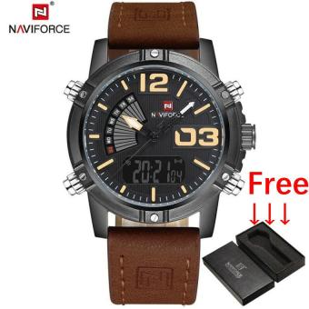 2017 NAVIFORCE Men's Fashion Sport Watches Men Quartz Digital LED Clock Man Leather Military Waterproof Watch Relogio Masculino - intl