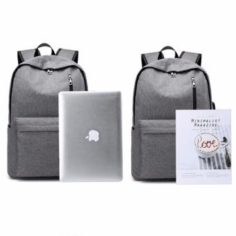 2017 New Design USB 15 Inch External Laptop Backpacks CanvasRucksack Backpacks New Fashion Travel Backpack Boy Girls SchoolBags - intl - 5