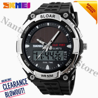 2017 New Relogio Solar energy Watch Men Sports Watches LED DigitalQuartz Military Outdoor Dress Clock Wristwatches SKMEI 1049