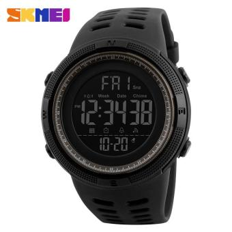 2017 New SKMEI 1251 Men Sports Watches 50M Waterproof WatchesCountdown Double Time Watch Alarm Chrono Digital Wristwatches -Black Gray - intl