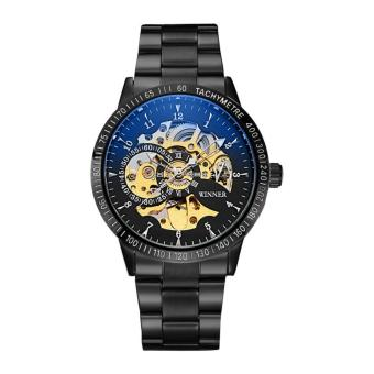 2017 New Winner Luxury Sport Clock Men Automatic Watch Skeleton Military Mechanical Watch Relogio Male Montre Relojes Mens Watch (Blue Black) - intl