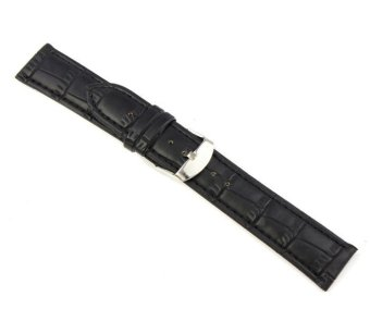 20mm Soft Genuine Leather Strap Steel Buckle Wrist Watch Band Black