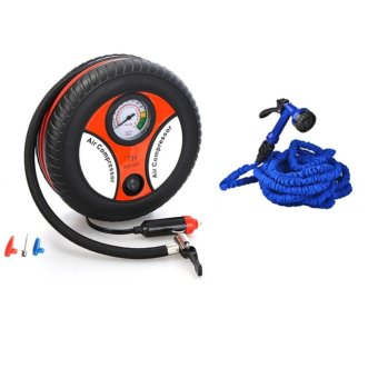 260PSI Auto Car Electric Tire Inflator Pump Air Pressure GaugeCompressor DC 12V With Expandable Flexible Garden Hose up to 50 ft