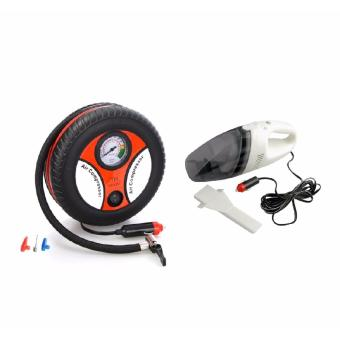 260PSI Auto Car Electric Tire Inflator Pump Air Pressure GaugeCompressor DC 12V with Portable Car Vacuum Cleaner (Black)
