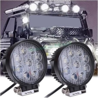 27W 12V 24V LED Work Light Flood Round LED Offroad Light Lamp Worklight for Off road Motorcycle Car Truck Fog Light - intl