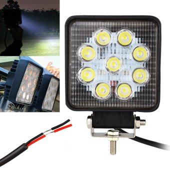 27W Super Bright 12V 24V LED Work Light Round Offroad LampWorklight for Off Road Motorcycle Car Truck (Converging)