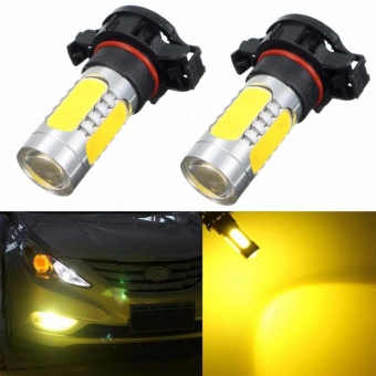 2PCS 5 COB LED H16 5202 5201 PSX24W Bulb Amber(Yellow) Fog Light 4.5W 12V - intl