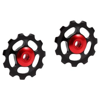 2pcs Aluminum Alloy 11T CNC Jockey Wheel Rear Derailleur Pulley For Bicycle Bike(black+red) - intl