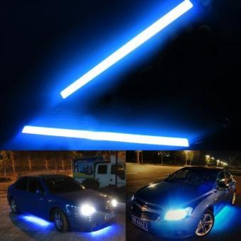 2pcs Blue Bright 12V Waterproof COB Car LED Light DRL Fog DrivingLamp 17cm (Blue) - intl