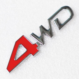 2pcs Car Tail Rear Side Metal 4x4 RC Car 4WD Sticker 3D Chrome Badge Car Emblem Badge Decal Auto Decor Styling 4WD Red for SUV Trunk - intl