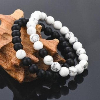 2pcs Couple Distance Bracelet for His & Hers White & Black Beads Chain Xmas Gift - intl