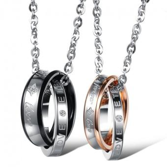 2pcs Fashion Couple Titanium Steel Rhinestone Chain Necklace
