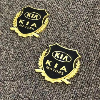 2pcs Golden Emblem Badge for Kia Cars
