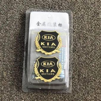 2pcs Golden Emblem Badge for Kia Cars - 2