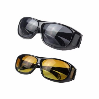 2pcs HD Night Vision Driving Sunglasses Sun Glasses For Best Friends Lovers - intl