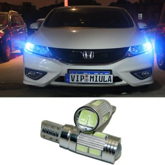 2pcs T10 LED W5W Car LED Auto Lamp 12V Light bulbs with Projector Lens for honda civic crv accord fit Spirior city Crosstour drl(Blue Light) - intl