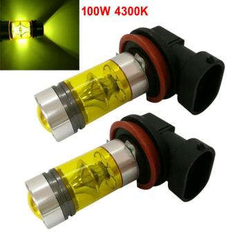 2pcs/Set H8 H11 100W 4300K Yellow LED Car Fog Light Driving Projector DRL Bulbs - intl