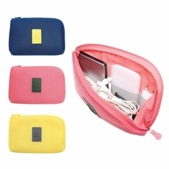 3 Colors Portable Organizer System Kit Case Storage Bag DigitalGadget Devices USB Cable Earphone Pen Travel Cosmetic InsertWaterproof (pink)
