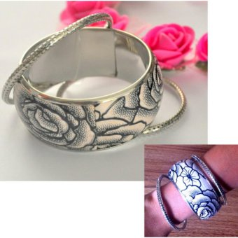 3 in 1 triple threat bracelet Stainless Steel Floral Bangle